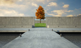 Minimalistic architecure. 3d render of abstract and minimalistic open space stock illustration