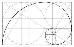 Minimalistic-Artdesign Goldenes Verhältnis Geometrische Formen Kreise im goldenen Anteil Futuristischer Entwurf zeichen Übersetzt stock abbildung