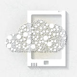 Minimalistic background with white tablet Royalty Free Stock Images
