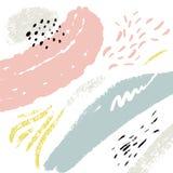 Minimalistic bakgrund med slaglängder för målarfärgborste Hand dragen textur med vit, pastellfärgade rosa färger och blåttfärger stock illustrationer