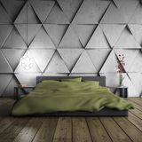 Minimalistic bedroom. With designer concrete wall. 3D illustration Royalty Free Stock Image