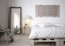 Minimalistic bedroom. Pallet bed, 3d illustration Royalty Free Stock Images