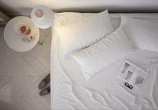Minimalistic bedroom. Pallet bed, 3d illustration Stock Images