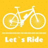 Minimalistic bike poster Let s Ride. Black mountain bicycle with a chain. Vector illustration Stock Photography