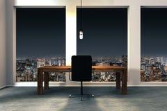Minimalistic biurowy wnętrze z iluminującym nocy miasta widokiem 3D Zdjęcia Royalty Free