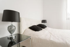 Minimalistic black and white bedroom Royalty Free Stock Images