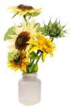 Minimalistic bouquet - mini yellow sunflowers stock photo