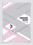 Minimalistic brochure design. Web, commerce or events vector gra. Phic design template. Striped line textured geometric illustration. A4 print format Royalty Free Stock Images