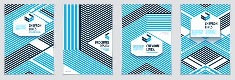 Minimalistic brochure designs. Vector geometric patterns abstrac. T backgrounds set. Design templates for flyers, booklets, greeting cards, invitations and Stock Image