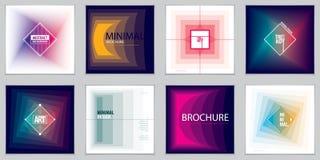 Minimalistic brochure designs. Web, commerce or events vector gr. Aphic design templates set. Simple minimal geometric illustrations Stock Photo