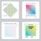 Minimalistic brochure designs. Web, commerce or events vector gr. Aphic design templates set. Striped line textured geometric illustrations Stock Photo