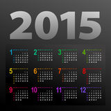 Minimalistic 2015 calendar. Minimalistic multicolor 2015 calendar design - week starts with sunday Royalty Free Stock Photo