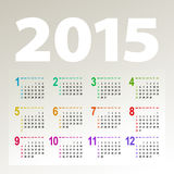 Minimalistic 2015 calendar. Minimalistic multicolor 2015 calendar design - week starts with sunday Royalty Free Stock Images