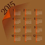 Minimalistic 2015 calendar. Minimalistic multicolor 2015 calendar design - week starts with sunday vector illustration