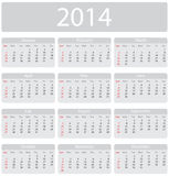 Minimalistic 2014 calendar. Week starts with sunday Royalty Free Stock Photo