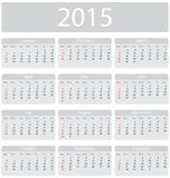 Minimalistic 2015 calendar. Week starts with sunday Royalty Free Stock Images