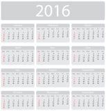 Minimalistic 2016 calendar. Week starts with sunday Stock Photography