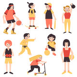Minimalistic cartoon style sports teenage girls (young women) vector set. Women in sport. Stock Photography