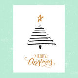 Minimalistic Christmas greeting card design. Simple hand drawn spruce tree and calligraphy text Merry Christmas. Black. Minimalistic Christmas greeting card Royalty Free Stock Photography