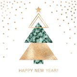 Minimalistic Christmas greeting card with gold foil and emerald green textured vector illustration