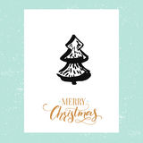 Minimalistic Christmas Greeting Card With Hand Drawn Christmas Tree. Vector Design Template With Calligraphy Type. Stock Image