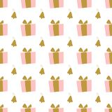 Minimalistic Christmas pattern with gifts and bells. stock images