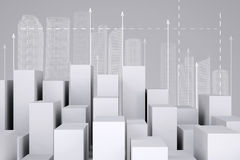 Minimalistic city of white cubes with wire-frame Royalty Free Stock Images