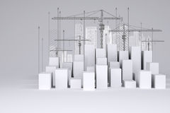 Minimalistic city of white cubes with wire-frame Stock Images