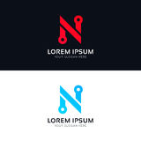 Minimalistic clean N letter sign company  logo icon Royalty Free Stock Photo