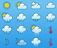 Minimalistic color weather icons Royalty Free Stock Image