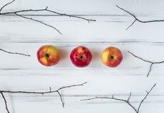 Minimalistic composition with branches and apples on white table. Flat lay, top view Stock Photography