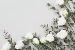 Minimalistic composition of white flowers and green eucalyptus leaves on gray table top view. Flat lay style. Minimalistic composition of white flowers and green royalty free stock photos
