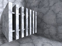 Minimalistic concrete architecture industrial urban background. 3d render illustration Royalty Free Stock Photography
