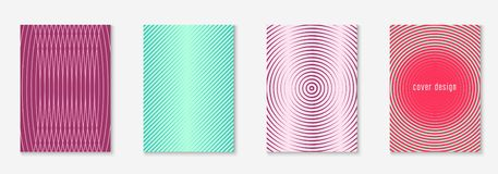 Minimalistic cover template set with gradients. Abstract minimal cover with geometric waves and gradients. Trendy layout with halftone. Abstract minimal cover royalty free illustration