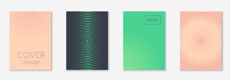 Minimalistic cover template set with gradients. Cool cover template set. Minimal trendy vector with halftone gradients. Geometric cool cover template for flyer Royalty Free Stock Photography