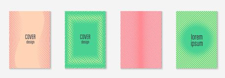 Minimalistic cover template set with gradients. Cool cover template set. Minimal trendy vector with halftone gradients. Geometric cool cover template for flyer Stock Image