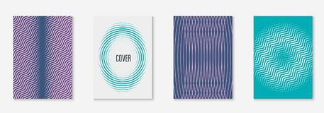 Minimalistic cover template set with gradients. Cool cover template set. Minimal trendy vector with halftone gradients. Geometric cool cover template for flyer Stock Photos