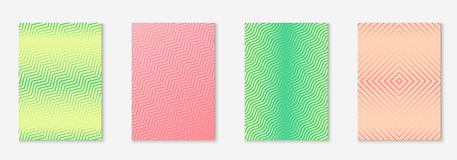 Minimalistic cover template set with gradients. Cool cover template set. Minimal trendy vector with halftone gradients. Geometric cool cover template for flyer Stock Photo