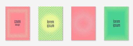 Minimalistic cover template set with gradients. Cool cover template set. Minimal trendy vector with halftone gradients. Geometric cool cover template for flyer Royalty Free Stock Photos