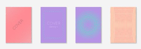 Minimalistic cover template set with gradients. Gradient cover template set. Minimal trendy layout with halftone. Futuristic gradient cover template for banner Stock Image