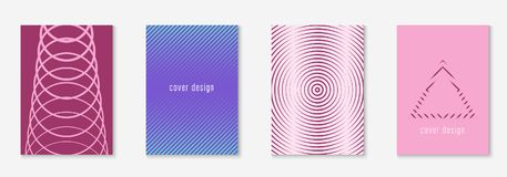 Minimalistic cover template set with gradients. Gradient cover template set. Minimal trendy layout with halftone. Futuristic gradient cover template for banner royalty free illustration