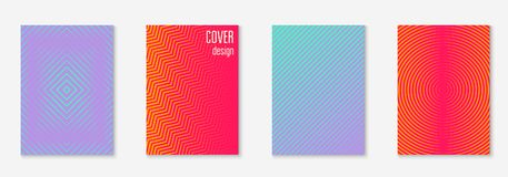 Minimalistic cover template set with gradients. Gradient cover template set. Minimal trendy layout with halftone. Futuristic gradient cover template for banner Stock Photo