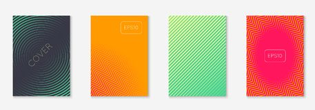 Minimalistic cover template set with gradients. Minimal trendy cover template set. Futuristic layout with halftones. Geometric minimal cover template for book Stock Image