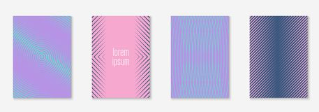 Minimalistic cover template set with gradients. Minimal trendy cover template set. Futuristic layout with halftones. Geometric minimal cover template for book stock illustration