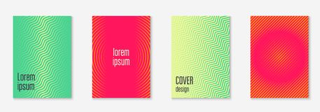Minimalistic cover template set with gradients. Minimal trendy cover template set. Futuristic layout with halftones. Geometric minimal cover template for book Royalty Free Stock Photos