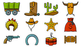 Minimalistic cowboy and western icons set Royalty Free Stock Photos