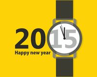 Minimalistic Creative poster Happy New Year. Minimalistic Creative poster with a wristwatch Happy New Year. Flat design stock illustration