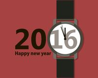 Minimalistic Creative poster with a wristwatch Happy New Year 2016. Flat design.  Stock Image