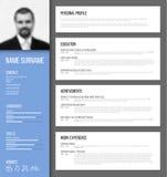 Minimalistic CV-/meritförteckningmall Royaltyfri Fotografi
