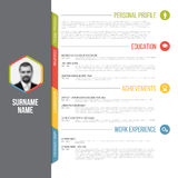 Minimalistic cv resume template Stock Photography